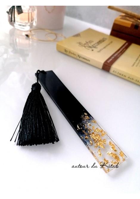 marque-page résine noir doré